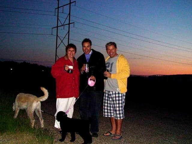 Chilly summer night's walk with loved ones (and warmed Kahlua)
