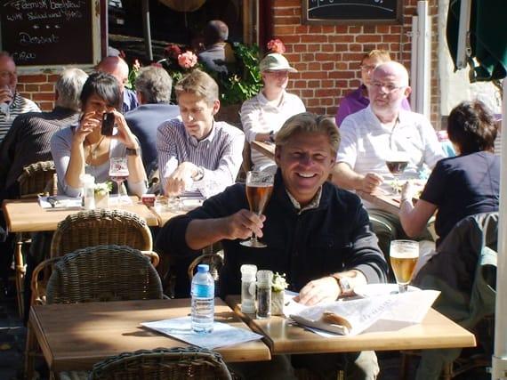 Enjoying a 'blond' beer in Belgium
