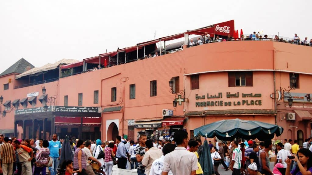 Le Grand Balcon Cafe Glacier with its with its famous rooftop view of Jemaa el Fna