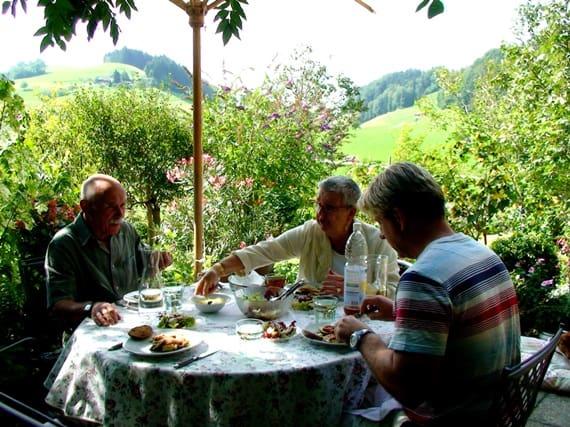 Lunch in a Swiss garden