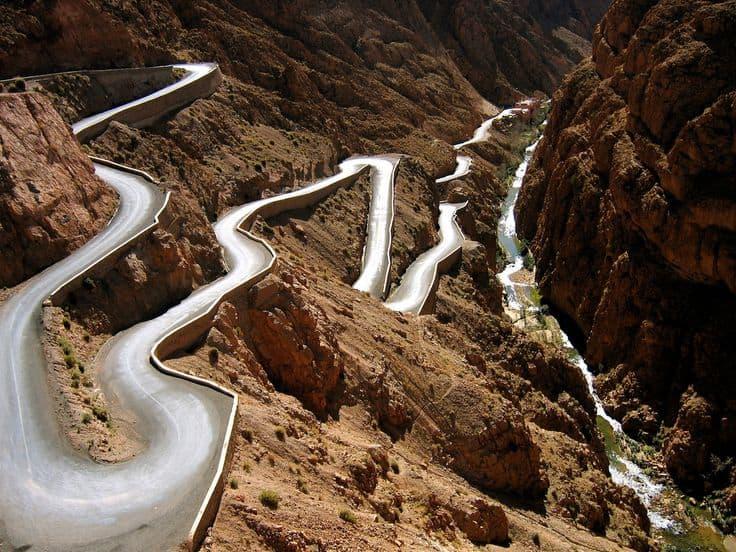 Roads into Atlas Mountains