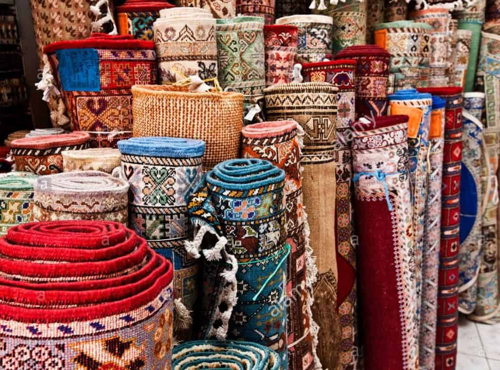 Rugs for sale in the souks