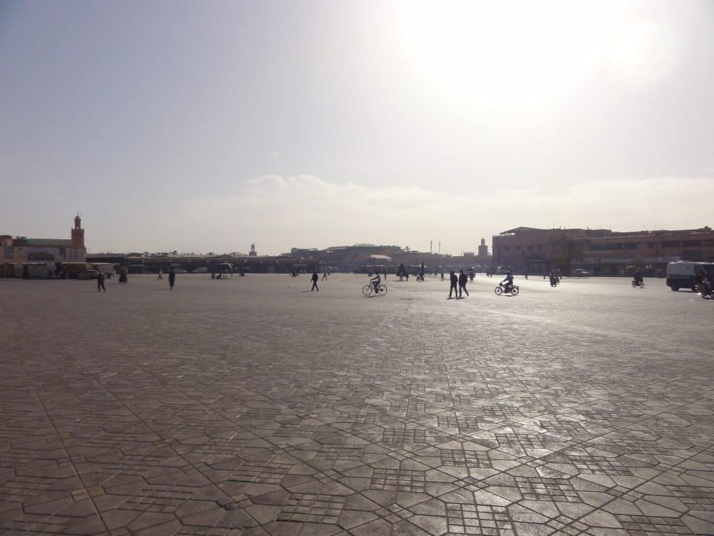 Scorching heat of day in Jemaa el Fna